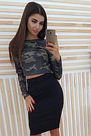 Комплект: Черная юбка карандаш и топ милитари, фото 1