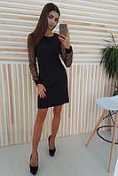 Черное платье трапеция с рукавами из сетки добби, фото 1