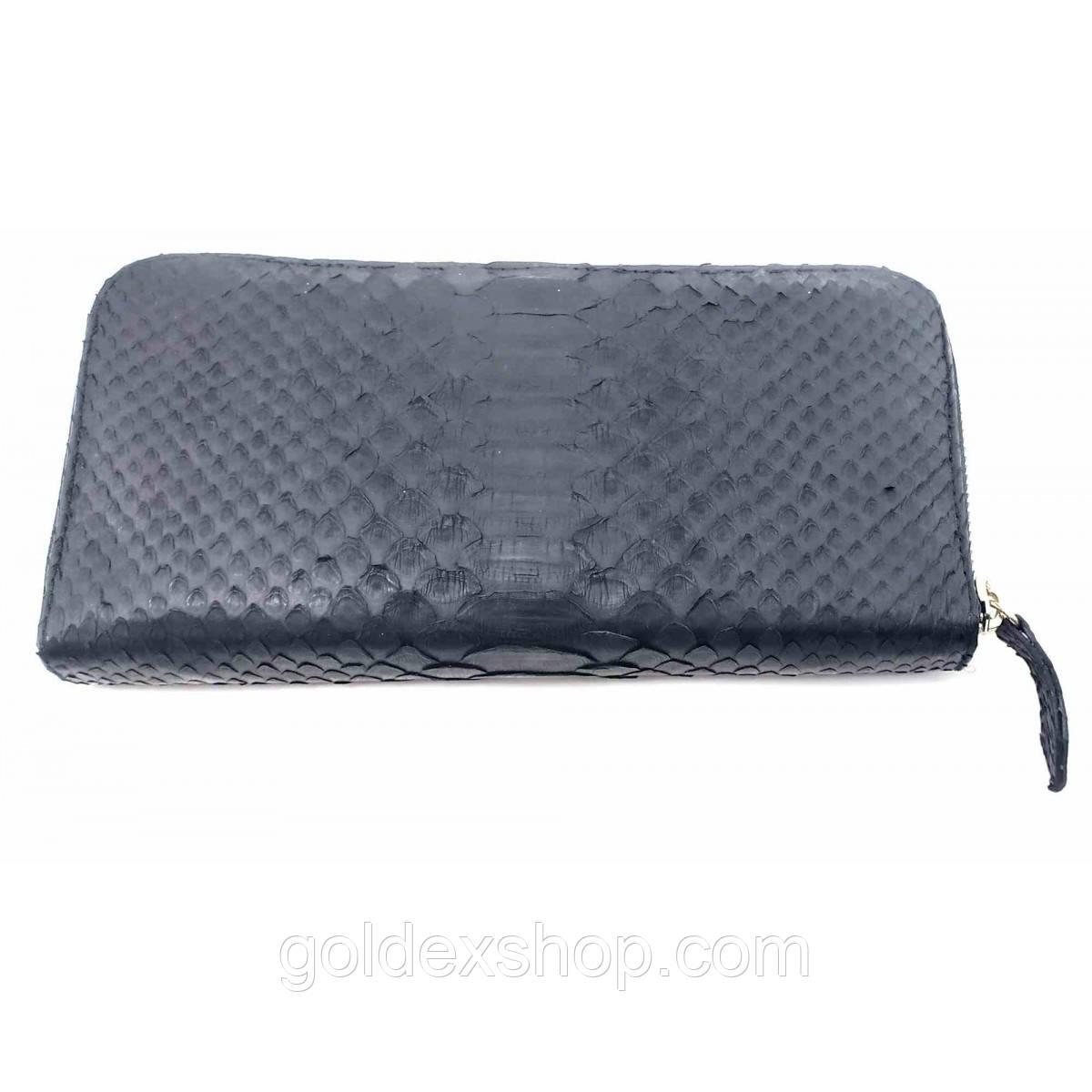 Кошелек клатч из кожи питона черный (20х10х3 см)