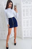 Комплект: Джинсовая юбка мини и белый боди, фото 1