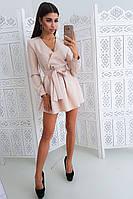 Бежевое платье с пышной юбкой и запахом на груди, фото 1