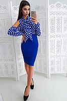 Комплект: Юбка карандаш и синяя блузка в горох на завязках, фото 1