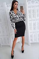 Комплект: Черная юбка карандаш с боди с леопардовым принтом -2, фото 1
