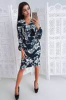 Платье футляр цвета петроль с запахом на груди, фото 1