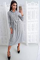 Платье миди в клетку на пуговицах приталенное поясом, фото 1