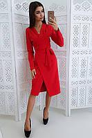 Красное платье на запах приталенное поясом, фото 1