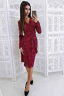 Платье в полоску  на запах приталенное поясом -2, фото 1