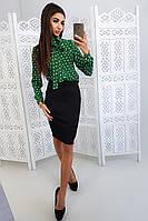 Комплект: Черная юбка карандаш и зеленая блузка на завязках, фото 1