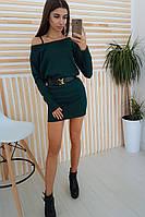 Теплое  платье туника цвета бутылки на одно плечо, фото 1