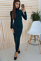 Бирюзовое платье макси  с высокой горловиной, фото 1