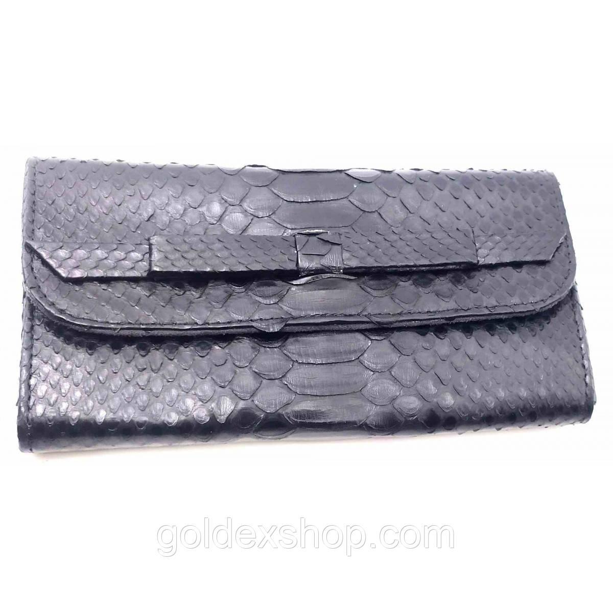 Кошелек клатч из кожи питона черный лак (30х11х2 см)