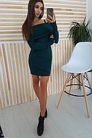 Темно-зеленое платье хомут, фото 1