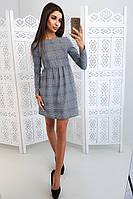 Приталенное платье в клетку с завышенной талией, фото 1