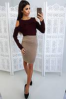 Комплект: Черная юбка карандаш  и бордовый джемпер с рюшей и вырезами на плечах, фото 1