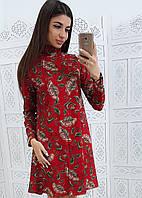 Красное платье с цветочным узором свободного кроя, фото 1