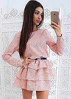 Розовое приталенное платье в горошек с трехъярусной оборкой, фото 1