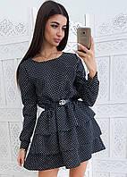 Черное приталенное платье в горошек с трехъярусной оборкой, фото 1