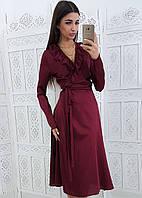 Бордовое шелковое платье с запахом и рюшами на груди, фото 1