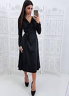 Черное шелковое платье с запахом и рюшами на груди, фото 1