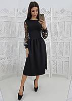 Элегантное платье миди с кружевными рукавами, фото 1