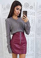 Комплект: Бордовая мини-юбка из искусственной кожи и серый джемпер, фото 1