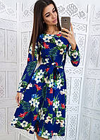 Платье миди с тропическим принтом приталенное поясом, фото 1