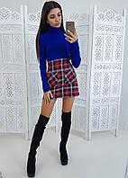 Комплект: Мини-юбка на пуговицах и синий гольф из трикотаж -рубчика, фото 1