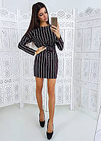 Платье в полоску приталенное поясом-4, фото 1