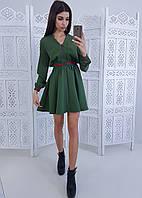 Зеленое приталенное платье на молнии с полосками, фото 1