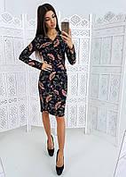 Черное цветочное платье - футляр с V образным вырезом, фото 1