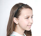 Чорний Обруч для волосся з кришталевими намистинами і перловими, фото 2