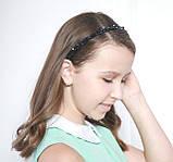 Чорний Обруч для волосся з кришталевими намистинами і перловими, фото 3