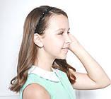 Чорний Обруч для волосся з кришталевими намистинами і перловими, фото 4
