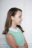 Чорний Обруч для волосся з кришталевими намистинами і перловими, фото 5