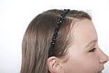 Чорний Обруч для волосся з кришталевими намистинами і перловими, фото 7