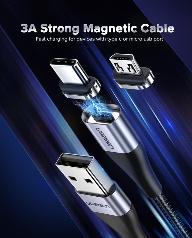 Магнитный кабель Ugreen Micro USB / Type-C для зарядки и передачи данных (Черный)