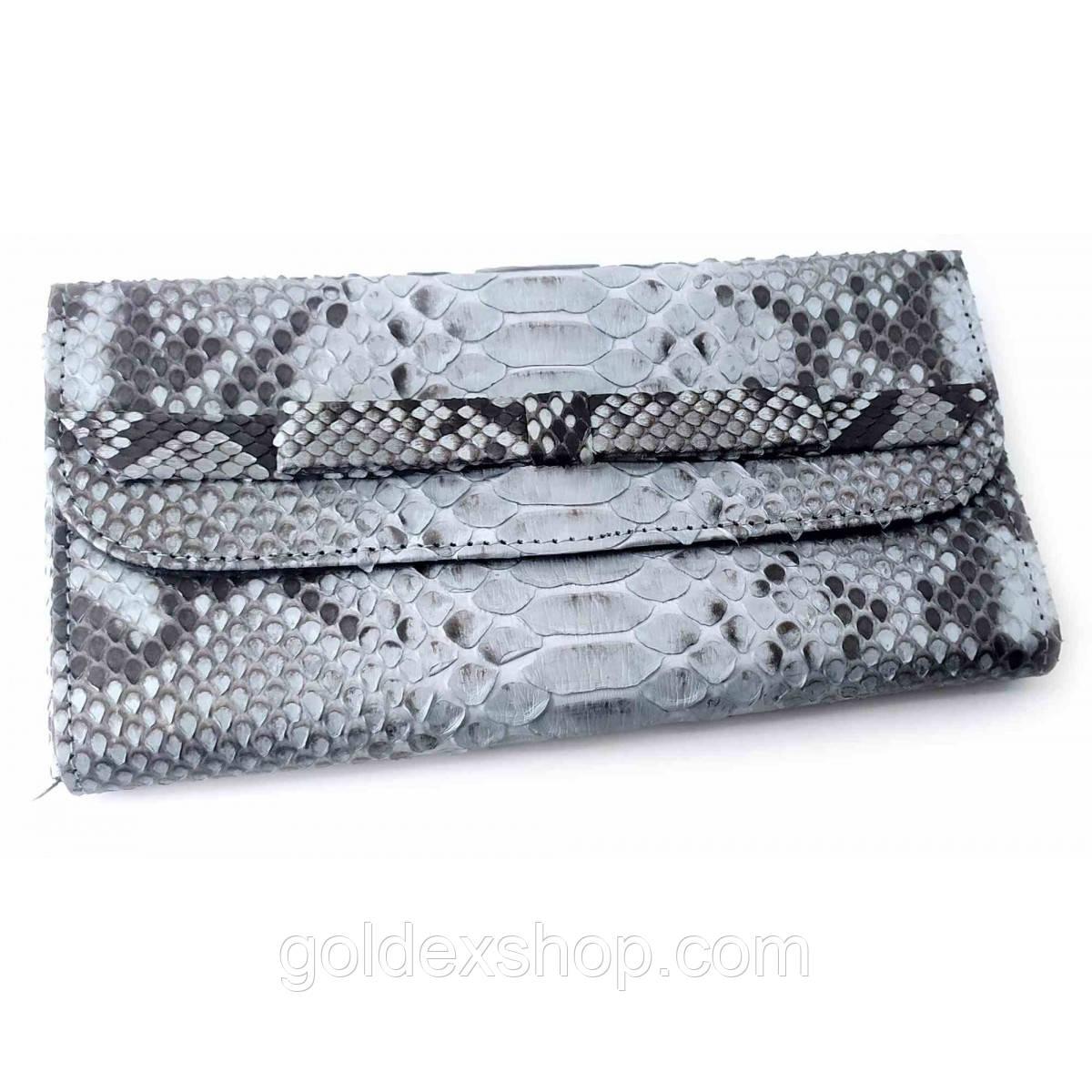 Кошелек  клатч из кожи питона серый (30х11х2 см)
