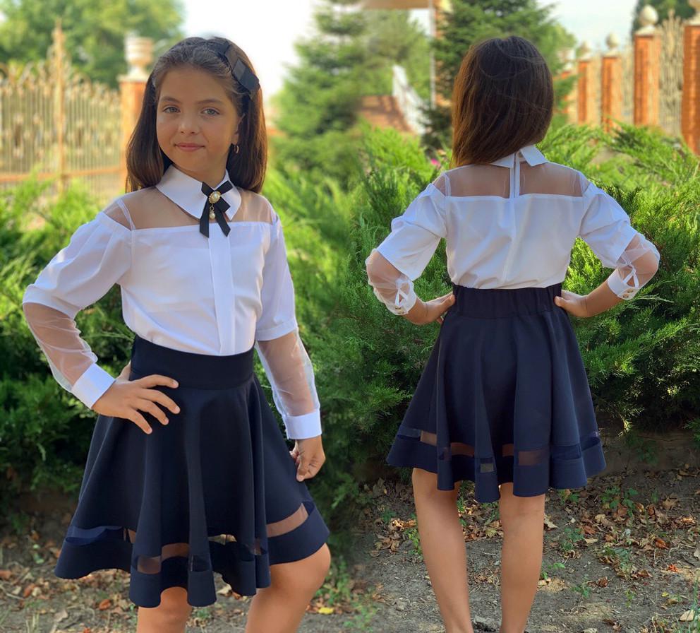 """Детская стильная блузка 749 """"Софт Кокетка Рукава Сетка Брошь"""" в школьных расцветках"""