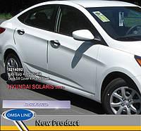 Накладки на пороги Hyundai Accent, Solaris 2011-2017 (4 шт.нерж.) Solaris Omsa