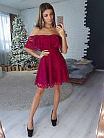 Гипюровое бордовое платье с открытыми плечами, фото 1