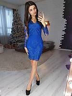 Синее элегантное платье футляр с отделкой из кружева, фото 1