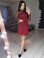 Платье-рубашка бордового цвета с сетчатыми вставками, фото 1