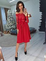 Элегантное приталенное  платье с кружевом красного цвета, фото 1