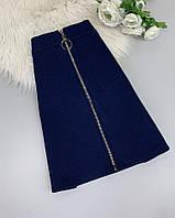 Джинсовая юбка мини с застежкой с кольцом, фото 1