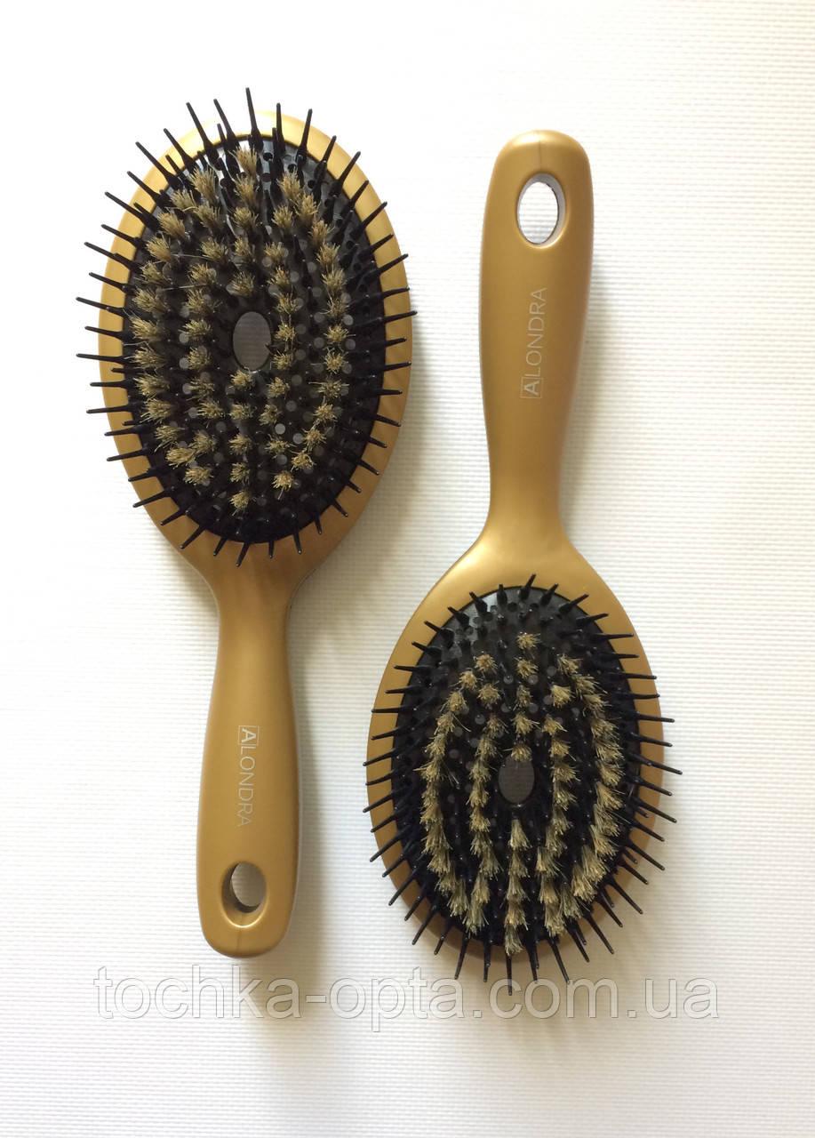 Массажная щётка для волос ALONDRA  силиконовая со щетиной