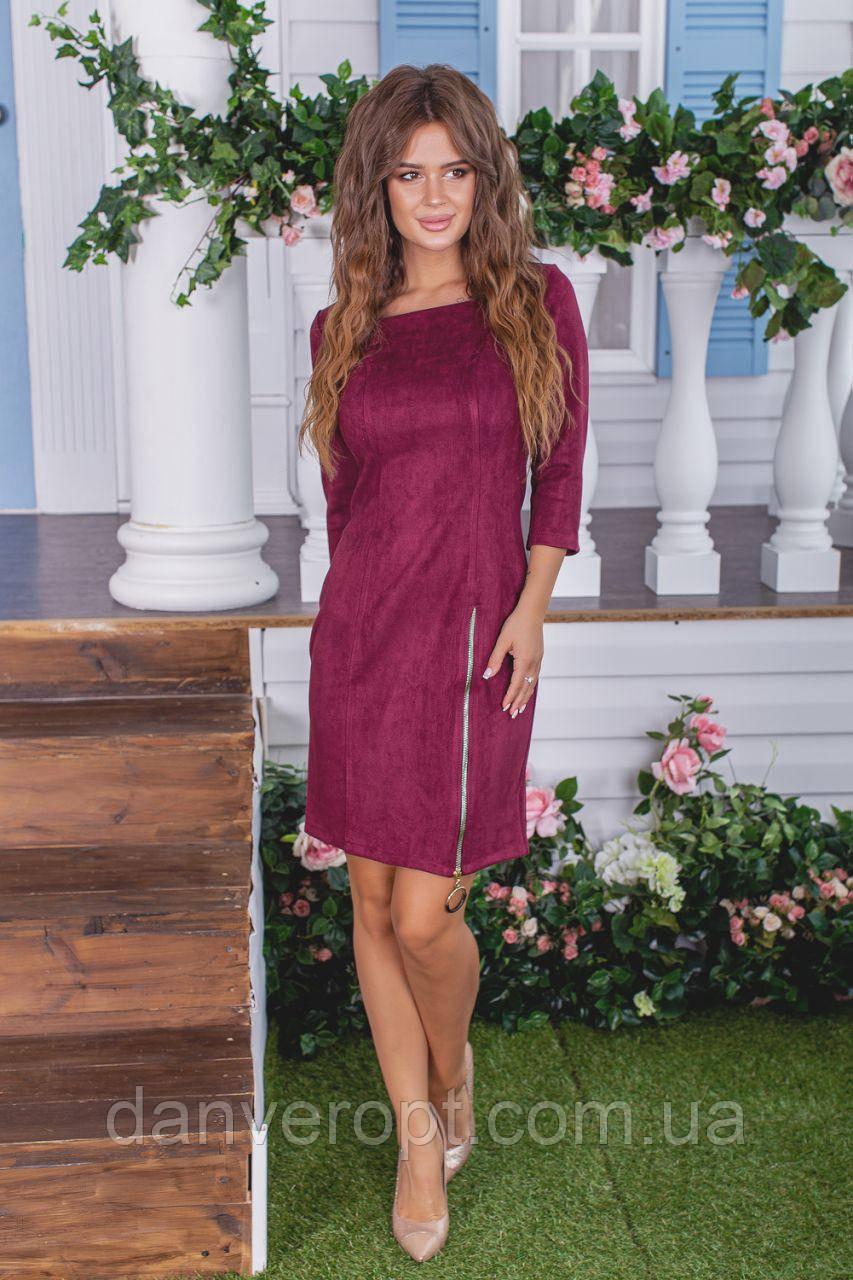 Платье женское модное стильное замшевое размер 42-48 купить оптом со склада 7км Одесса