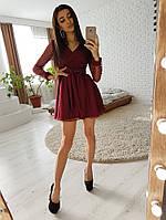 Бордовое платье из сетки в звездочки, фото 1