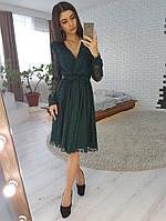 Темно-зеленое платье миди из сетки в горошек, фото 1