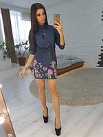 Джинсовое платье с вышивкой на кнопках, фото 1