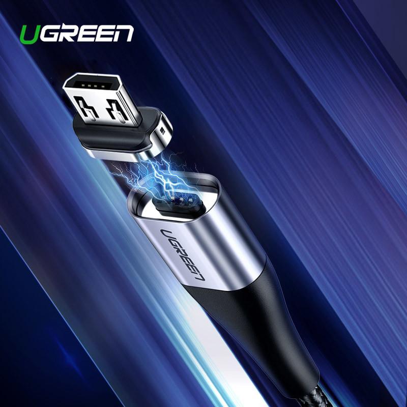 Магнитный кабель Ugreen Micro USB для зарядки и передачи данных (Черный, 1м)